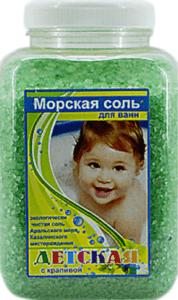 АРОМИКА Соль для ванн банка Детская с Крапивой 900гр