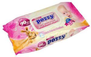 Влажные детские салфетки POZZY BONUS (розовые с крышкой) Ромашка 90шт