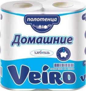 Полотенца бумажные кухонные Veiro Домашние БЕЛЫЙ 2х-слойные 2 рул.