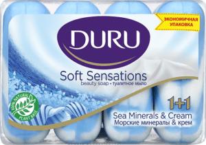 Туалетное мыло DURU SOFT SEA MINERALS (Морские минералы) ЭКОПАК 4х90гр