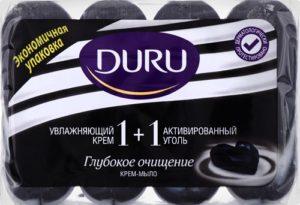 Туалетное мыло DURU Soft Sens Увлажняющий крем и активированный уголь 4х90гр