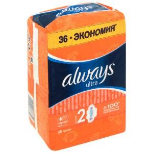 ALWAYS Ultra Женские гигиенические прокладки Normal Plus Quatro 36шт