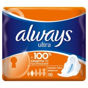ALWAYS Ultra Женские гигиенические прокладки Normal Plus Single 10шт