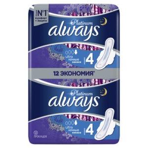 ALWAYS Ultra прокладки Platinum Night Duo 12шт
