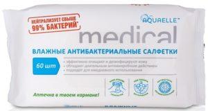Aquaelle Medical Влажные Салфетки Антибактериальные 60шт