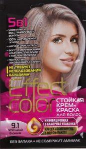 Effect Color Стойкая крем-краска для волос 9.1 Пепельный Блондин 50мл