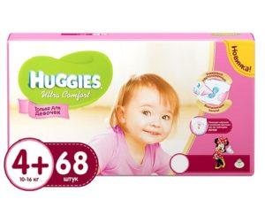 Huggies подгузники Ultra Comfort №4+ Giga Girl 68шт