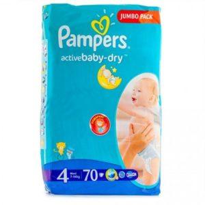 PAMPERS Подгузники Active Baby Maxi Jumbo №4 (9-14кг) 70шт