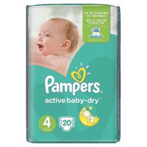 PAMPERS Подгузники Active Baby Maxi №4 (9-14кг) 20шт