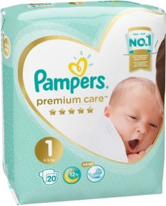 PAMPERS Подгузники Premium Care Newborn №1 (2-5кг) 20шт