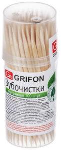 GRIFON Зубочистки  деревянные в пластиковой баночке 100шт