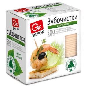 GRIFON Зубочистки из дерева в индивидуальной упаковке 500шт