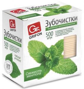 GRIFON Зубочистки из дерева с ментолом  в индивидуальной упаковке 500шт