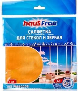 Haus Frau Салфетки для уборки 3в1 из Микрофибры для стёкол и зеркал 1шт
