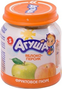 Агуша Пюре фруктовое Гипоаллергенное Яблоко-Персик банка 115мл