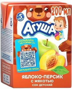 Агуша Сок детский Яблоко-Персик с мякотью 200мл
