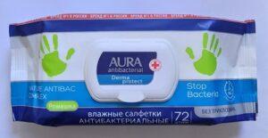 Aura влажные салфетки Антибактериальные с экстрактом Ромашки 72шт