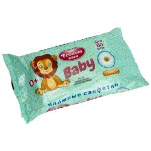 Econom Care влажные салфетки для детей с экстрактом Ромашки 60шт