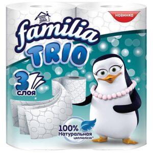 Familia Trio туалетная бумага 3х слойная Белая 4шт