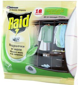 Raid подушки от Моли Зелёный чай 10шт