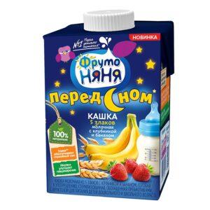 Фруто Няня кашка молочная перед сном 5 злаков Клубника Банан 0.5л