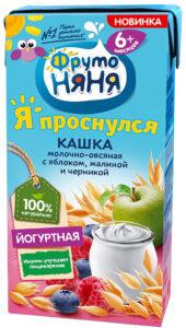 Фруто Няня кашка молочно-овсяная Я проснулся 5 злаков Яблоко Малина Черника 6+ 0.2л