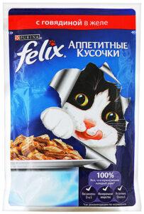 Felix кошачий корм с Говядиной в желе 85гр
