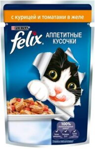 Felix кошачий корм с Курицей и томатами в желе 85гр