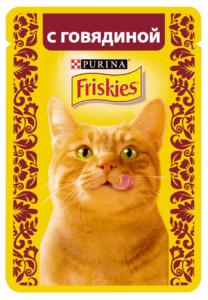 Friskies кошачий корм с Говядиной в подливе 85гр