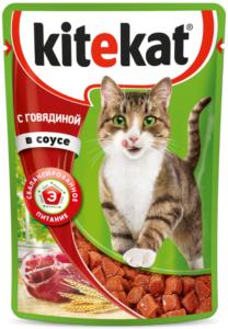 Kitekat кошачий корм с Говядиной в соусе 85гр
