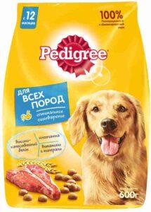 Pedigree собачий корм для всех пород Говядина Рис Овощи пак. 600гр