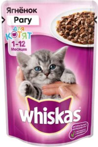 Whiskas кошачий корм для Котят с Ягнёнком в рагу 85гр