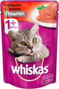 Whiskas кошачий корм с Говядиной и Печенью паштет 85гр