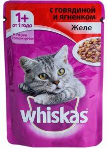 Whiskas кошачий корм с Говядиной и Ягнёнком в желе 85гр