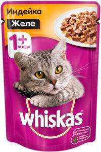 Whiskas кошачий корм с Индейкой в желе 85гр
