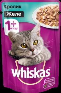 Whiskas кошачий корм с Кроликом в желе 85гр