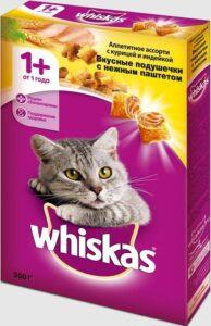 Whiskas кошачий корм с Курицей и Индейкой кор. 350гр