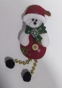 Игрушка мягкая плоская Медведь дед мороз Подвеска 1шт