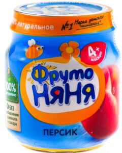 Фруто Няня пюре Персик 4+ банка 100мл