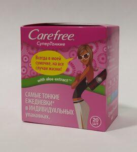 Carefree ежедневные прокладки Супер тонкие с экстрактом Алоэ 20шт