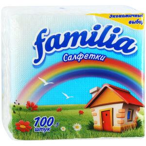 Familia салфетки бумажные с тиснением Белые 100шт