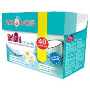 Selena таблетки для посудомоечных машин Pure&Power 40шт