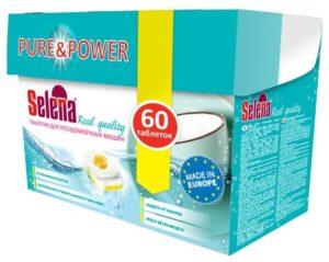 Selena таблетки для посудомоечных машин Pure&Power 60шт