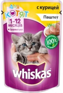 Whiskas кошачий корм для Котят с Курицей паштет 85гр