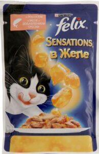 Felix Sensations кошачий корм  с Лососем и Треской  в желе 85гр