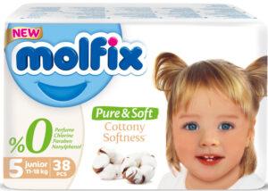 MOLFIX Pure&Soft Подгузники детские (11-18кг) №5 Junior 38шт