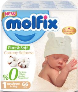 MOLFIX Pure&Soft Подгузники детские (2-5кг) №1 Newborn 66шт