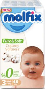 MOLFIX Pure&Soft Подгузники детские (4-9кг) №3 Midi 46шт