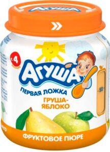 Агуша Пюре фруктовое Гипоаллергенное Груша Яблоко банка 115мл