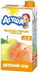 Агуша Сок детский Яблоко Персик с мякотью 500мл